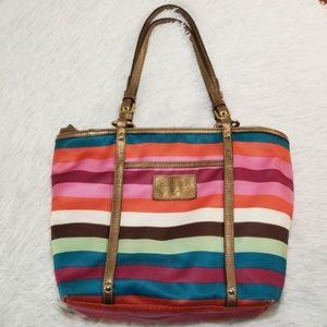 Coach Mutlicolor Satin Striped Tote/Bag.